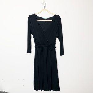 Boden Chelsea Faux Wrap Dress Long Sleeve Black